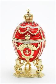"_JEWELED EGG RED 3"" HIGH WITH JEWELS"