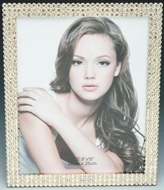 _FRAME 8X10 GOLD WITH CLEAR CRYSTALS