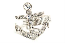 "_605674 ANCHOR NAPKIN RING WITH CRYSTAL STONES INSET IN ANCHOR 1 1/4"" RD ANCHOR MEASURES 1 3/4"""