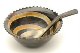 "_13209 HORN BOWL/SPOON 4 3/4""ROUND WITH 5"" SPOON"