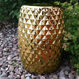 -678001 GILDED GOLD GEOMETRIC CERAMIC STOOL