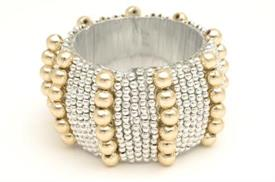 """_13062 SILVER NAPKIN RINGS WITH GOLD BEADS 2"""" ROUND."""