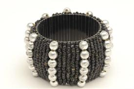 "_13062 BLACK NAPKIN RING WITH PEARL BEADS 2"" ROUND"