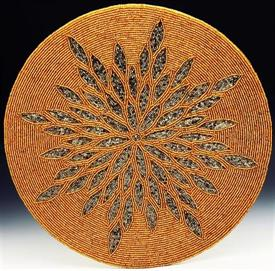 """-14210 S/4 PLACEMATS 14"""" GOLD BEADED WITH SILVER FLORAL BURST DESIGN"""