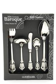 _,5PC HOSTESS SET   SERVE SET CONSISTS OF 1 TABLESPOON,1COLD MEAT FORK,1 GRAVY,1 MASTER BUTTER AND 1 SUGAR SPOON.
