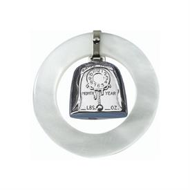 "-,BIRTH RECORD WHITE RATTLE ROUND HAS PLACE FOR WT,MONTH,YEAR AND TIME PLAIN BACK FOR NAME  2.5""RD"