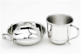 "-PORRINGER/BABY CUP PEWTER  IMAGES OF AMERICA BEADED RIM PORRINGER 4.1/4"" CUP 5OZ  BEADED RIM PLAIN HANDLE 2 3/4""TALL"