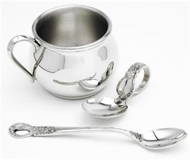 "- CUP,FEEDER,SPOON BENT HANDLE PEWTER  BULGED CUP 5OZ 2 1/4"" TALL INFANT FEEDER AND BENT SPOON WITH DAINTY FLORAL DESIGN."