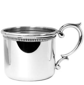 -Baby cup pewter beaded w/ straight sides & scroll handle