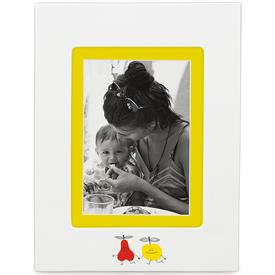 _5X7 MATTED PORCELAIN FRAME SUEDE BACKING. YELLOW MATTING. OVER ALL SIZE OF FRAME 9X11.