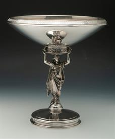 ",STUNNING GORHAM COIN SILVER FIGURAL TAZZA/COMPOTE 42.60 TROY OUNCES 10.75"" TALL MONOGRAMMED ""RSM"" CONDITION 7.5 OUT OF 10 SOME MINOR DINGS"