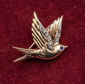 "14K BIRD BROOCH WITH DIAMONDS SET IN THE WINGS & A SAPPHIRE EYE. A RARE AND STUNNING PIECE! .75""x.5"". WITH HOUSE OF FABERGE BOX."