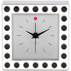 "-CROSS POINTE CLOCK BLACK SPOTS ON WHITE 3.5"" HAS CHROME SIDES AND TRIM.PINK SPADE AT 12:00"