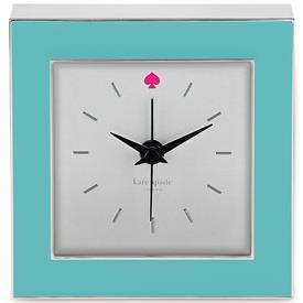 "-CROSS POINTE CLOCK TURQUOISE 3.5"" HAS CHROME SIDES AND TRIM. PINK SPADE AT 12;00"