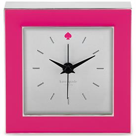"-,CROSS POINTE CLOCK PINK 3.5"" HAS CHROME SIDES AND TRIM PINK SPADE AT 12:00"