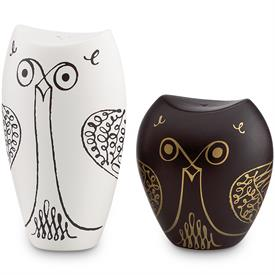 "-,WOODLAND PARK OWL SALT AND PEPPER BLACK AND WHITE OWLS.3"" TALL"