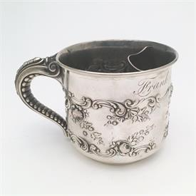 ",GORHAM STERLING SHAVING MUG. ELEPHANT TRUNK HANDLE, W/ REPOUSSE DECORATION, CA. 1898. 2.8"" TALL, 4.35 TROY OUNCES."
