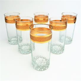 ,6-PIECE MID CENTURY MODERN TEXTURED GOLD BAND HIGHBALL GLASS TUMBLERS.