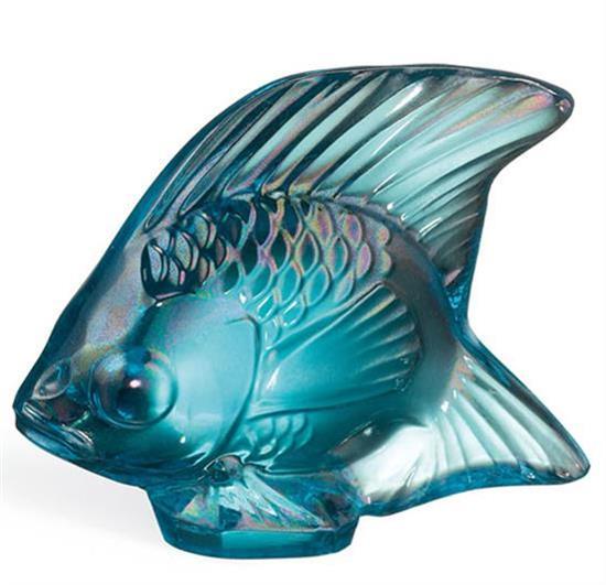 "Lalique ,-FISH, TURQUOISE LUSTER. H1.77""/L2.09""/W1.14"""