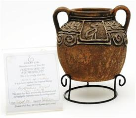 "POTTERY WITH STERLING OVERLAY REPLICA OF A BYZANTINE PERIOD 324-640 AD PIECE   5"" TALL BY 6"" ACROSS"