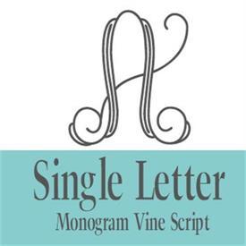 -:35-355 1 LETTER VINE SCRIPT MONOGRAM