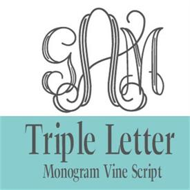 -35-355 3 LETTER VINE SCRIPT MONOGRAM. PLEASE REMEMBER THAT THE LAST NAME IS THE LARGER, MIDDLE LETTER OF THE MONOGRAM.