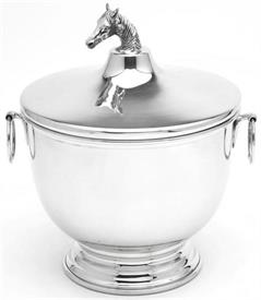 "_9042P/CHH BLUE GRASS BOWL 9""IN HEIGHT 5 1/4"" IN DIAMETER  RING HANDLES & HORSE HEAD FINIAL."