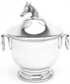 "_9043P/CHH BLUEGRASS BOWL 7""H. 71/4""  IN DIA.RING HANDLES AND HORSE HEAD FINIAL."