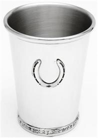 """_SRB/7P  JULIP CUP PEWTER ROSE GARLAND AT BOTTOM W/APPLIQUED HORSE SHOE CENTER.4 3/8""""HGT 12OZ."""