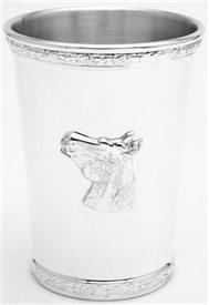 "-15SP/DRB JULEP CUP SILVER PLATE ON   PEWTER WITH ROSE GARLAND TOP AND BOTTOM HORSE HEAD APPLIQUE 4 3/8""HGT  12OZ."