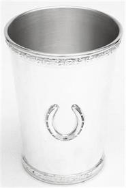 """_16SP/SRB JULEP CUP SILVER PLATE ON PEWTER KENTUCKY DERBY ROSE COLL. 4 3/8"""" 12OZ ROSE GARLAND HORSE SHOE APPLIQUE."""