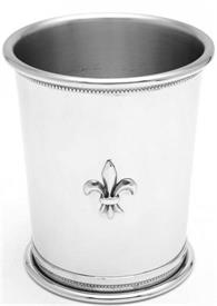 "-62P/FDL JULEP CUP PEWTER GOVERNORS CUP WITH FLEUR dE LEI APPLIQUE.4""HGT."