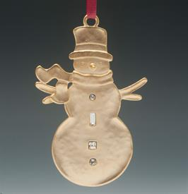 "_L0706 SNOWMAN GOLDEN SILVER PLATE WINTER WONDER   3.5""H. GIFT BOXED."