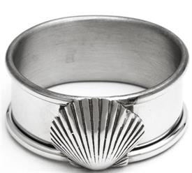 "_606P/LSC1 NAPKIN RING PEWTER WITH LARGE SCALLOP SHELL  1/8"" W 2 1/8"" LONG."