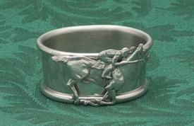 "_606P/JR1 NAPKIN RING PEWTER JOCKEY RIDER ON HORSE APPLIQUE 1""W 2 1/8"" L."