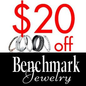 _TAKE $20 OFF YOUR PURCHASE OF ANY OF OUR BENCH MARK BRANDS OF WEDDING BANDS OR ANNIVERSARY RINGS