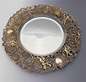 ",0GNIFICENT SERVING PLATES 9.5"" DIAMETER 15 TROY OZ. WITH GILDING ON DETAIL WORK AND SILVER IN FLAT AREA--STUNNING!"