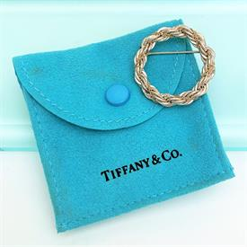 """,STERLING & 18K GOLD ROPE CHAIN STYLE CIRCLE/WREATH BROOCH WITH ORIGINAL POUCH. 1.2"""" WIDE. 7 GRAMS/.23 OZT"""