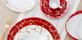 ,_GOLD RUBY BY PORCEL, 5PC PLACE SETTING. INCLUDES DINNER, SALAD, BREAD & BUTTER PLATES, TEA CUP & SAUCER. MSRP $131.00