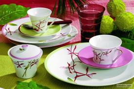 ,_EXOTICA BY PHILIPPE DESHOULIERES, 5PC PLACE SETTING. GREEN DINNER, PINK SALAD, RED BREAD & BUTTER TEA CUP & SAUCER. MSRP $225.00