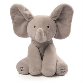 "-:ANIMATED FLAPPY THE ELEPHANT. 12"" HIGH. PLAYS PEEK-A-BOO AND SINGS 'DO YOUR EARS HANG LOW'"