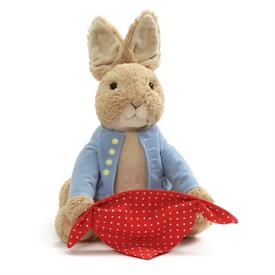 "-:PEEK-A-BOO PETER RABBIT ANIMATED PLUSH. 10"" TALL. TAKES 3 AA BATTERIES."