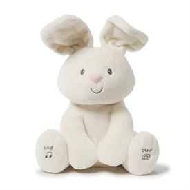 "-:PEEK-A-BOO FLORA, ANIMATED BUNNY PLUSH. 12"" TALL. TAKES AA BATTERIES."