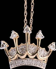 -Crown Pendant 10k .10 carats diamonds with chain  Was $179