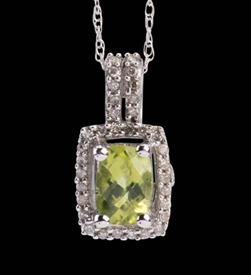 -Peridot Pendant  .05 carats of diamonds 14k gold includes chain   WAS: $299