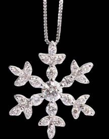 -Snowflake Pendant 14k with .33 carats of diamonds includes chain  WAS $599