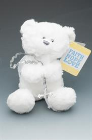 "-,ROSERY BEAR WHITE. 8"" TALL"