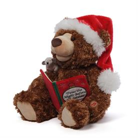 """-SANTA BEAR MUSICAL """"TWAS THE NIGHT BEFORE CHRISTMAS"""" BOOK,MOUSE."""