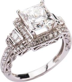 -3.04 Carat VS1 Clarity H Color Princess Cut Center Stone Diamond in White gold .70 carats of diamonds in semi-mount  Was $59,169