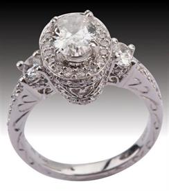 -1.10 oval cut diamond I1 Clarity G Color 1.01 carats of diamonds in semi-mount in 14k White Gold  Was $4,816